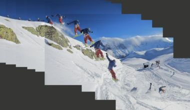 Backside 360 rock drop by the La Floria draglift, Flegere