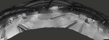 Inside panorama of Prevail Skatehouse in Poole, Dorset