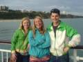 Kiwi friends Boots and Jane with CJ on Bournemouth pier