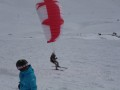 Kite skier swooped in pretty near to CJ, Le Tours