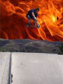 To mark the end of the Flipside Tour, Dom boosts a big BS180 into the burning skies behind...