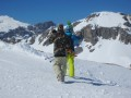 dom & jules hiking for backcountry powder...