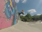 Lonshot of Doms wallride at Haslemere
