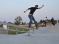 Smith to frontside boardslide combo from Lewis at twilight in Ringwood skatepark