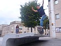 Lewis Langford grinding 5-0 on an ornamental bench in Southampton