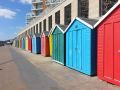 Multi-coloured beach huts at Honeycombe Chine, Boscombe