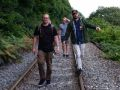 Paul and Josh walking the train track to get to the Mill, Fowey