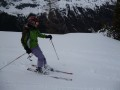 Pips cruising through the snow in Le Tours, Chamonix