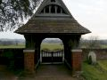 View through Sopley Cemetary gate to the floodplain beyond