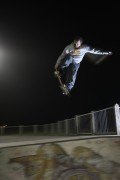Dom bones out a tweaked 360 at the night shoot in Kings Park, Bos Vegas