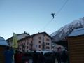 Tightrope walker at the World Freeride Tour show in Chamonix town centre