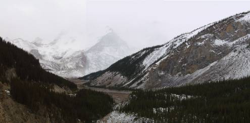A ghostly-looking Mt.Athebasca - home to the Columbia Icefields centre