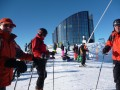 Getting ready to ski by the revolving restaurant by the Leysin lift