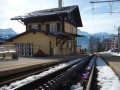 Leysin station - note the toothed rail to retain traction on the steep angles
